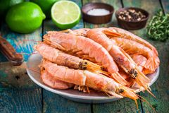 Fresh raw shrimps in a bowl with salt, pepper, lime Stock Images