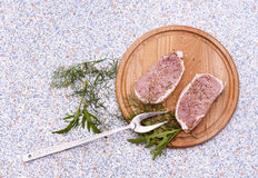 Fresh Raw Steak Meat with spaces, herbs and vegetables. Fresh Raw Steak Meat with spaces, herbs on wooden board stock photo