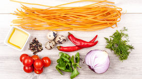 Fresh raw tasty ingridients for pasta. Fresh tasty ingridients for pasta stock photos