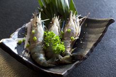 Fresh raw tiger prawns. On black stone table Royalty Free Stock Photos