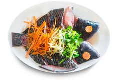 Fresh raw tilapia fish on chopped vegetables and white disk.  Royalty Free Stock Images