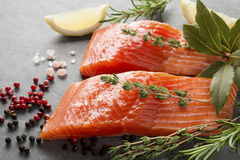 Fresh Raw Trout Fillets with Herbs and Spices. Selection of Herbs and Spices with fresh fillets of raw pink trout on a grey slate background. Ingredients Stock Images