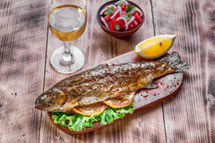 Fresh raw trout whole. On ice Stock Photo