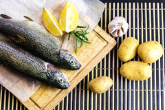 Fresh trout with lemon and potatoes. A table with a cutting board with fresh trout, slices of lemon and rosemary and potatoes and garlic on the side Royalty Free Stock Photography