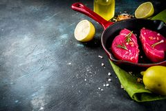 Fresh raw tuna fish stock images