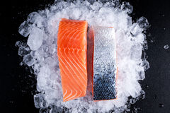 Fresh Raw two salmon fillet on ice.  Stock Images