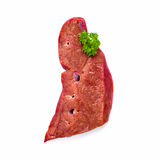 Fresh raw veal liver isolated on white. Top view Royalty Free Stock Photo