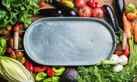 Fresh raw vegetable ingredients for healthy cooking or salad making with metal tray in center. Top view, copy space. Diet or vegetarian food concept, vertical Royalty Free Stock Photography