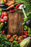 Fresh raw vegetable ingredients for healthy cooking or salad making with rustic wood board. In center, top view, copy space. Diet or vegetarian food concept Stock Image