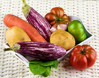 Fresh Raw Vegetables. Arrangement of Fresh Raw Vegetables with Striped Eggplants, Potatoes, Green and Red Tomatoes, Carrot, Pink Garlic and Spinach into Wooden Royalty Free Stock Photography