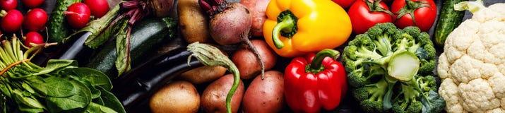 Fresh raw vegetables banner stock photos