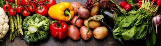 Fresh raw vegetables banner royalty free stock photos