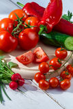 Fresh raw vegetables basis for healthy salads stock images