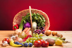 Fresh raw vegetables. Basket with colorful vegetables and fruits Royalty Free Stock Image