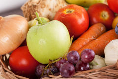 Fresh raw vegetables. Basket with colorful vegetables and fruits Stock Image
