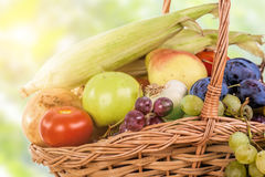 Fresh raw vegetables. Basket with colorful vegetables and fruits Stock Photography
