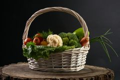 Fresh raw vegetables in a basket. Stock Images
