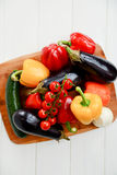 Fresh Raw Vegetables. Cherry tomatoes, pepper, paprika, onion, courgettes, eggplant Stock Photography