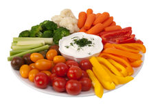 Fresh raw vegetables with dip. On a plate Stock Photography