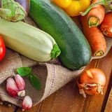 Fresh raw vegetables harvest. Fresh raw vegetables on a canvas plain. Ingredients for healthy food cooking Stock Photo