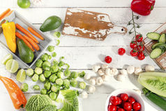 Fresh raw vegetables. Healthy food concept. Top view Royalty Free Stock Photo