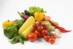 Fresh raw vegetables for healthy  isolated on white background.clean eating dieting and healthy organic food concept. Stock Images
