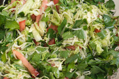 Fresh raw vegetables salad with olive oil close-up Stock Image