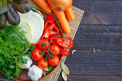 Fresh, raw vegetables on the table. Fresh, raw vegetables on the dark wooden table Stock Photos