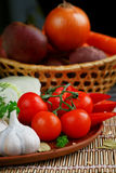 Fresh, raw vegetables on the table. Fresh, raw vegetables on the dark wooden table Stock Photography