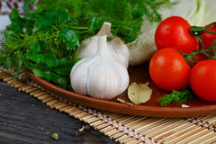 Fresh, raw vegetables on the table. Fresh, raw vegetables on the dark wooden table Royalty Free Stock Photo