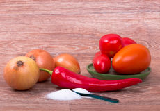 Fresh raw vegetables on wooden background Stock Photography