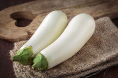 Fresh raw white eggplants. For an healthy meal Royalty Free Stock Images