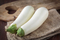 Fresh raw white eggplants. For an healthy meal Stock Photos