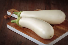 Fresh raw white eggplants. For an healthy nutrition Royalty Free Stock Photography