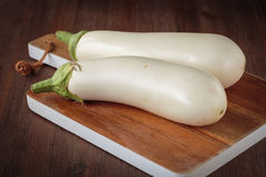 Fresh raw white eggplants. For an healthy nutrition Stock Photo