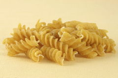 Fresh raw and wholegrain fusilli Royalty Free Stock Images