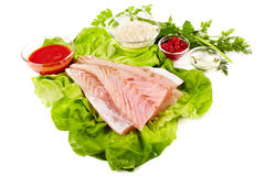Fresh raw zander fillet Royalty Free Stock Image
