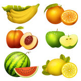 Fresh realistic juicy fruits slice vector illustration 3d organic vegetarian isolated greengrocery fruit. Fresh fruits slice realistic juicy apple healthy Royalty Free Stock Photo