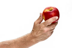Fresh red apple in beautiful hand isolated on white background. Stock Images