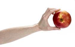 Fresh red apple in beautiful hand isolated on white background. Royalty Free Stock Image