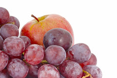 Fresh red apple and grape Royalty Free Stock Images