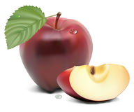 Fresh red apple with green leaf. And slices Royalty Free Stock Photography