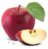Fresh red apple with green leaf. And slices Stock Photography