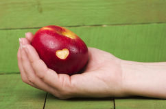 Fresh red apple with a heart shaped cut-out in woman hand on woo. D table. GMO free genetically modified organisms Royalty Free Stock Photography