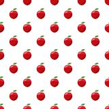 Fresh red apple pattern. Seamless repeat in cartoon style vector illustration Stock Images
