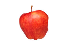 Fresh red apple. Single red apple with a bite mark, isolated on white background stock images