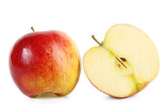 Fresh red apple with slice Stock Photo