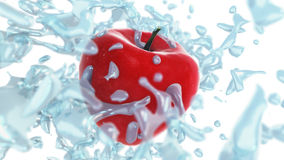 Fresh red apple in splashes of water on white background Stock Photo