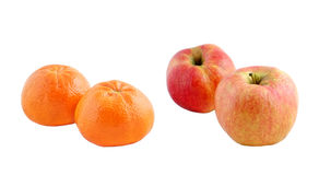 Fresh red apple and tangerine isolated Royalty Free Stock Image