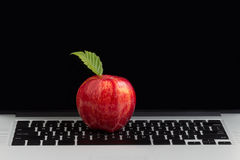 Fresh red apple on top of laptop keyboard Royalty Free Stock Photo